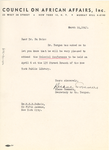 Letter from Diane Sommers to W. E. B. Du Bois