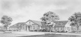 Drawing of the College Center at Alabama A & M College in Normal, Alabama.