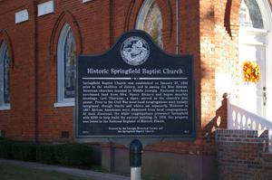 Historic Springfield Baptist Church historical marker