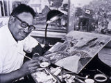 African American artist at work