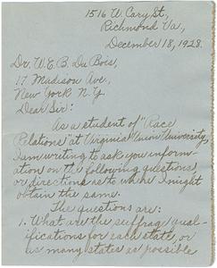 Letter from Ella J. Hohman to W. E. B. Du Bois
