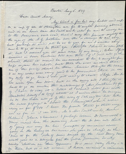 Letter from Anne Warren Weston, Boston, to Mary Weston, May 6, 1839