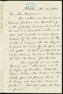 Letter from William Lloyd Garrison, Boston, [Mass.], to Maria Weston Chapman, Nov. 15, 1861