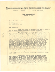 Letter from Harry Pace to W. E. B. Du Bois