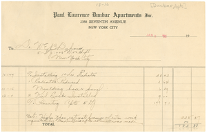 Invoice from the Paul Laurence Dunbar Apartments, Inc