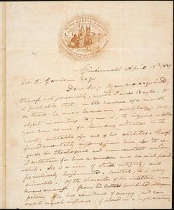 Letter from Gamaliel Bailey, Cincinnati, [Ohio], to William Lloyd Garrison, 1839 April 15th