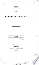 Odes, and fugitive poetry