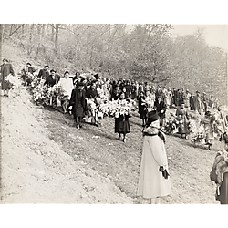 Pigmeat's funeral, Allegheny Cemetery in Lawrenceville, including Kathleen Halloway near center with round, light-colored brooch