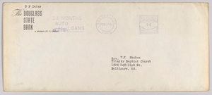Envelope for letter from H.W. Sewing for Daisy Bates Trust Fund