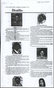 Funeral Programs, Killett, King