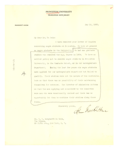 Letter from Princeton University to W. E. B. Du Bois