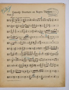 Gilbert, Henry F. / COMEDY OVERTURE ON NEGRO THEMES, Viola PART.