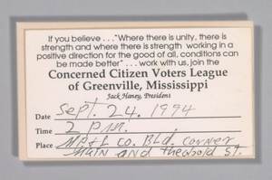 Concerned Citizens Voters League Card from the home of H.C. Anderson
