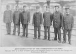 Representatives of the overground railroad; Here are lined up in their uniforms some of the brightest Parlor Car porters of the Chicago and Northwestern Railroad