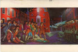 Painting of Paul Revere's engraving of the Boston Massacre, by artist Jose Perez