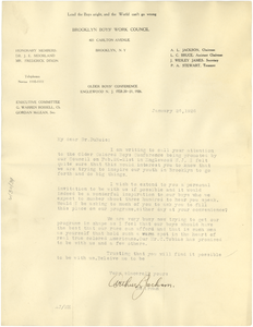 Letter from Brooklyn Boys' Work Council to W. E. B. Du Bois