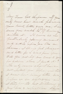 Letter from Martha Griffith Browne, 15 Carroll Place, Bleecker Street, New York, to Maria Weston Chapman, Nov. 17th / [18]59
