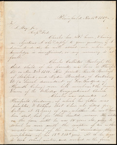 Letter from Gertrude K. Burleigh, Plainfield, [Conn.], to Samuel May, Nov. 14th, 1857