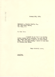 Letter from W. E. B. Du Bois to the Abyssinian Baptist Church and Community House