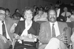 Paul Winfield and Jean Stapleton at a meeting on the homeless, Los Angeles, 1986