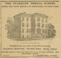 Advertisement for the Tuskegee Normal School in Tuskegee, Alabama.