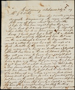 John Mattingly, Montgomery, Ala., autograph letter signed to Ziba B. Oakes, 16 February 1857