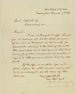 Letter from General Henry Wager Halleck to General Robert E. Lee and a response by Lee, 1863, December 7