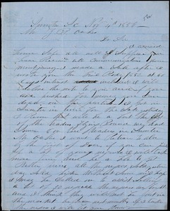 A. J. McElveen, Sumter, S.C., autograph letter signed to Ziba B. Oakes, 4 November 1856