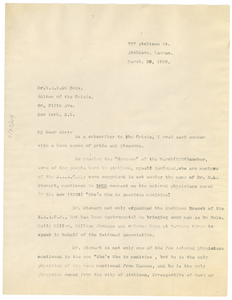 Letter from S. D. Rhone to W. E. B. Du Bois