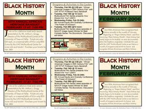 African American Heritage Month event sheet