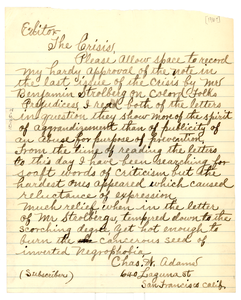 Letter from Charles W. Adams to the editor of The Crisis