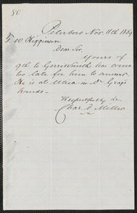 Charles D. Miller autograph note signed to Thomas Wentworth Higginson, Peterboro N.Y., 11 November 1859