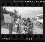 Black Stuntman's Association picketing against under-representation in Honda commercials, Calif., 1980