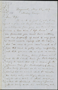 Letter from William Lloyd Garrison, Longwood, [PA], to Helen Eliza Garrison, May 18, 1857, Monday Evening