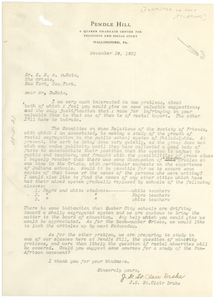 Letter from the Committee on Race Relations to W. E. B. Du Bois