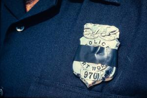 Fort Worth police badge with a black band, 3