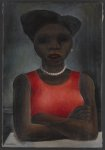 [Black woman wearing a red dress with pearl necklace, arms crossed]