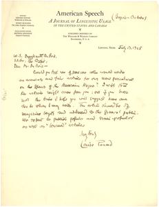 Letter from American Speech to W. E. B. Du Bois