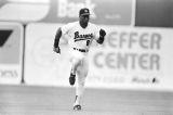 Bo Jackson running during a Birmingham Barons baseball game in Birmingham, Alabama.