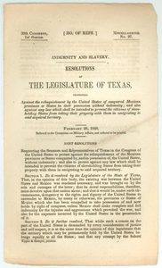 Indemnity and Slavery: Resolutions of the Legislature of Texas 30th Legislature of Texas