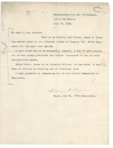 Letter from Major William H. Ferguson to unidentified correspondent