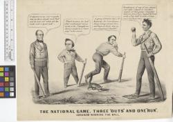 """The national game : three """"outs"""" and one """"run"""" : Abraham winning the ball."""