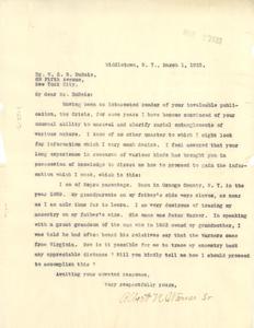 Letter from Albert N. Warner Sr. to W. E. B. Du Bois