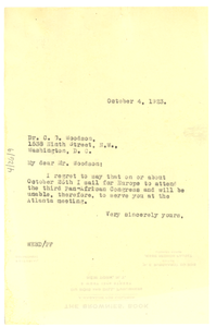 Letter from W. E. B. Du Bois to Association for the Study of Negro Life and History, Inc.