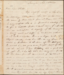 Letter from Abraham Chittenden Baldwin, Amherst (Ms), to Amos Augustus Phelps, April 16th 1833