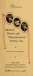 Program of the ... annual session of The Old North State Medical, Dental and Pharmaceutical Society [serial], 61st(1948)