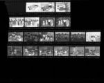 Set of negatives by Clinton Wright including Operation Head Start, Bertha Harris, Demo Women West, and a wedding, 1966