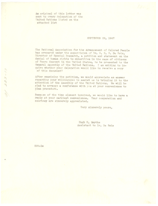 Circular letter from Hugh H. Smythe to unidentified correspondent