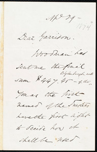 Letter from Wendell Phillips, to William Lloyd Garrison, Ap[ri]l 29 - [1874]