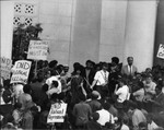 Joan Kelly at a Black Panther rally, Los Angeles